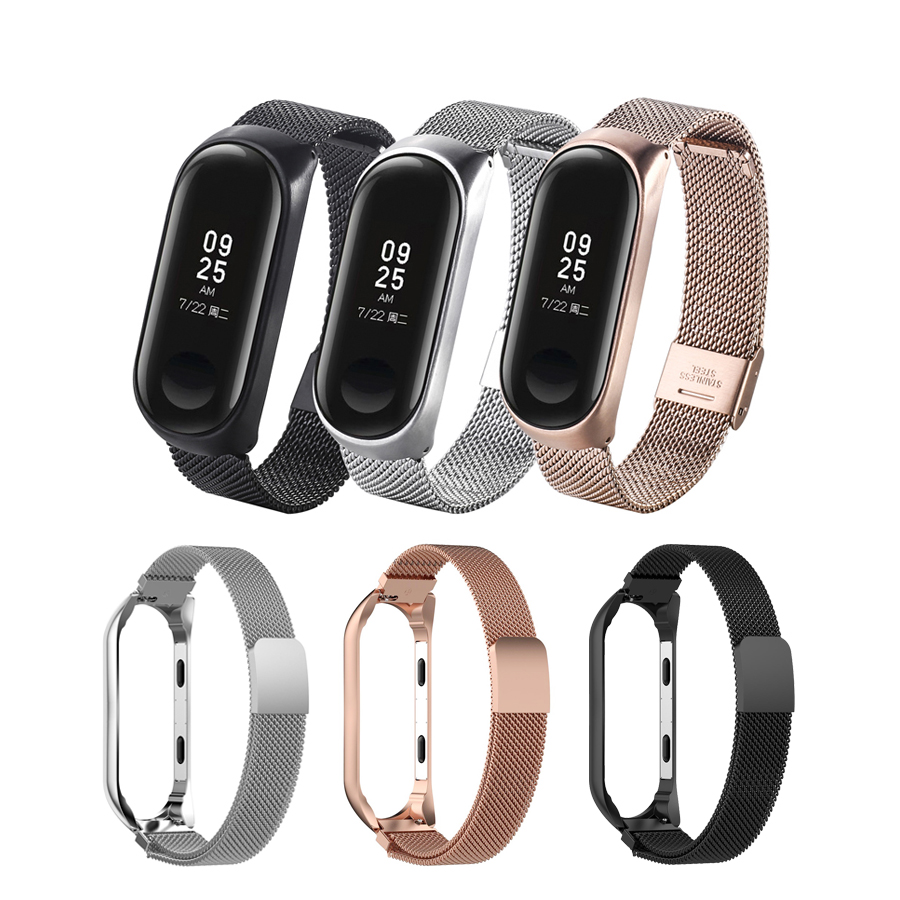 For Mi Band 3 Bracelet Stainless Steel Milanese Magnetic Watch Strap For Xiaomi Mi Band 3 4 Wristband For Mi Band 4 Rose Gold