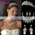 Free Shipping Dramatic Silver Clear Crystal & Ivory Pearl Bridal Necklace & Earring Set with Matching Tiara