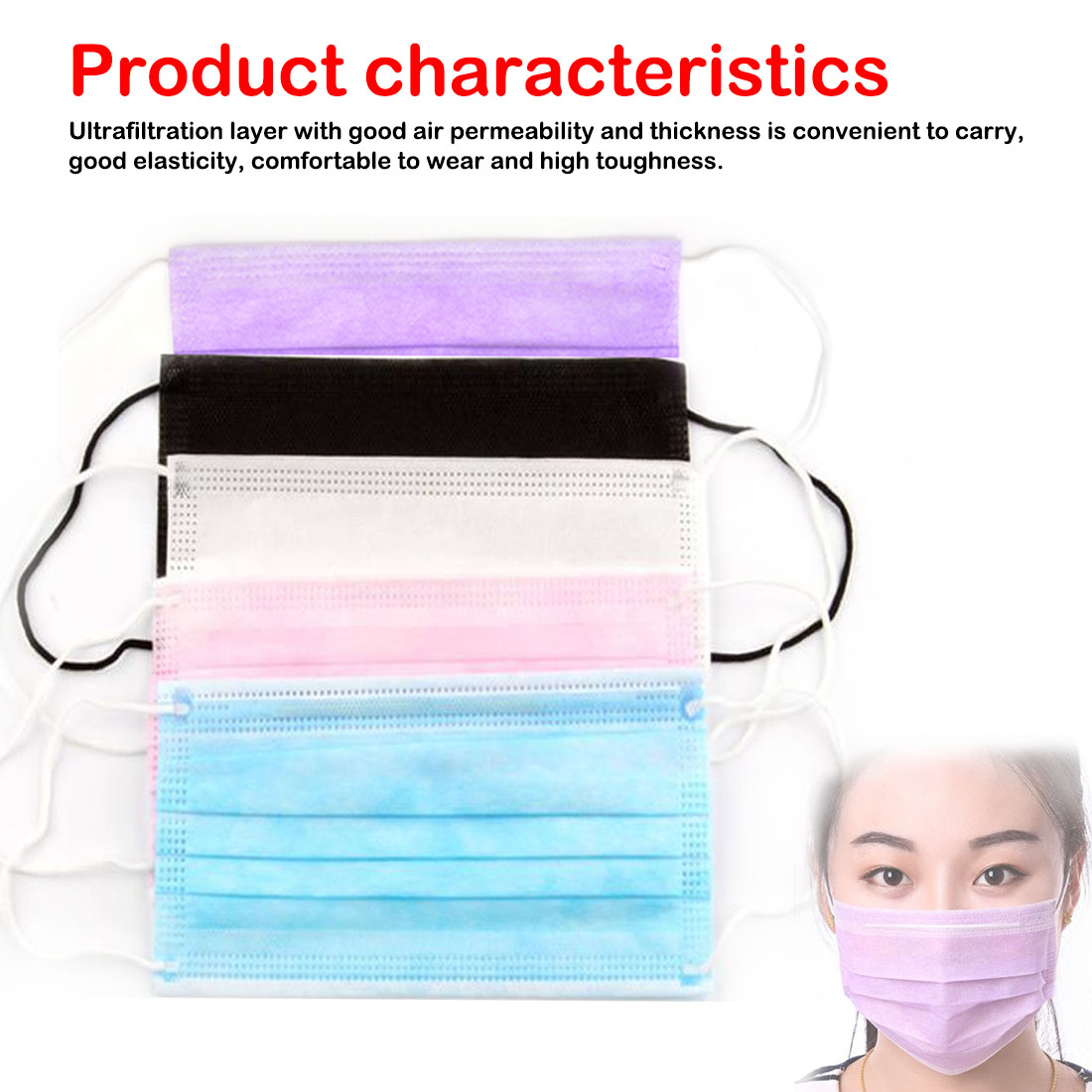 Medical Salon Earloop Face Mouth Masks 20Pcs 3 Layers Dustproof Facial Protective Cover Masks Anti-Dust Disposable Surgical