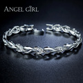 Angel Girl 2016 high quality white gold plated heart-shape Bracelets & Bangles for woman Ladies jewlry christmas gifts