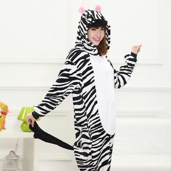 Czarny biały Zebra piżamy ustawia kobiety mężczyźni Unisex dorosłych zwierząt piżama flanelowa Onesie Cos bielizna nocna bluza z kapturem Halloween cosplay kostium tanie i dobre opinie WOMEN Pełna Poliester Banma IFLIFE Pełnej długości Winter Flannel