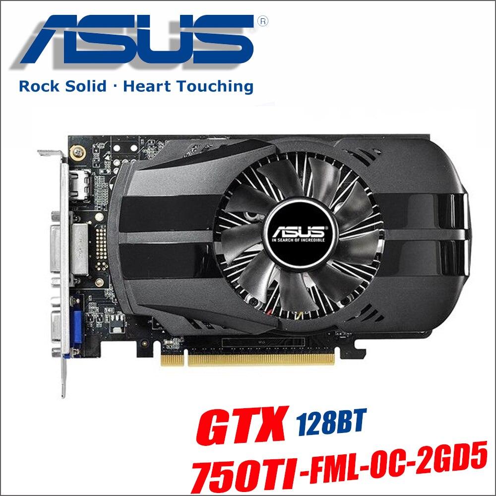 Asus GTX 750TI OC 2 ГБ GTX750TI GTX 750 TI 750 2 г D5 DDR5 128 бит настольных ПК Графика карты PCI Express 3,0 компьютеров видео 1050ti