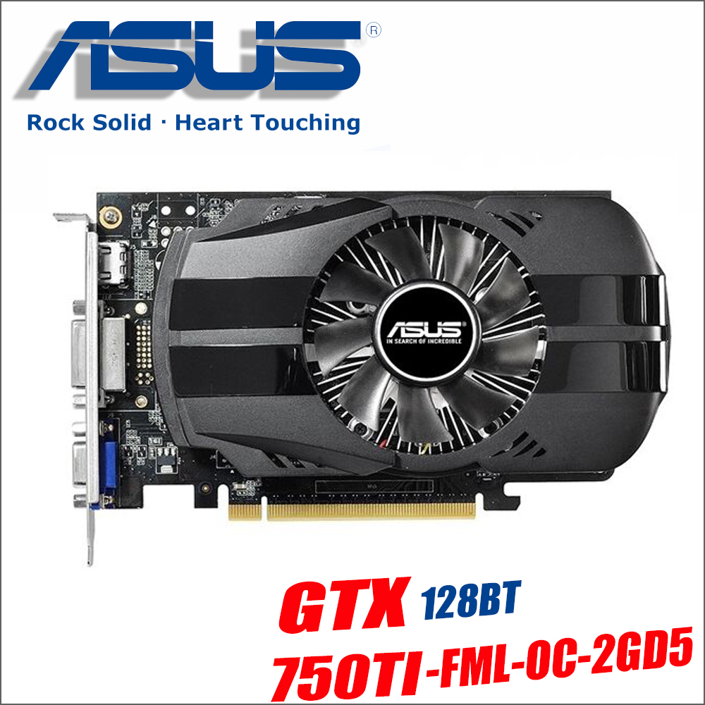 Asus GTX 750TI OC 2GB GTX750TI GTX 750 TI 750 2G D5 DDR5 128 Bit PC Desktop Graphics Cards PCI Express 3.0 computer video 1050ti lan baoshi сапфир rx550 2g d5 platinum edition oc 1206mhz 7000mhz 2gb 128bit gddr5 dx12 независимой игровой графики