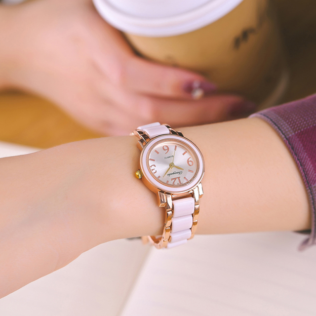 CYD Brand Women Bracelet Watches Office Lady Fashion Dress Quartz Watch White Si