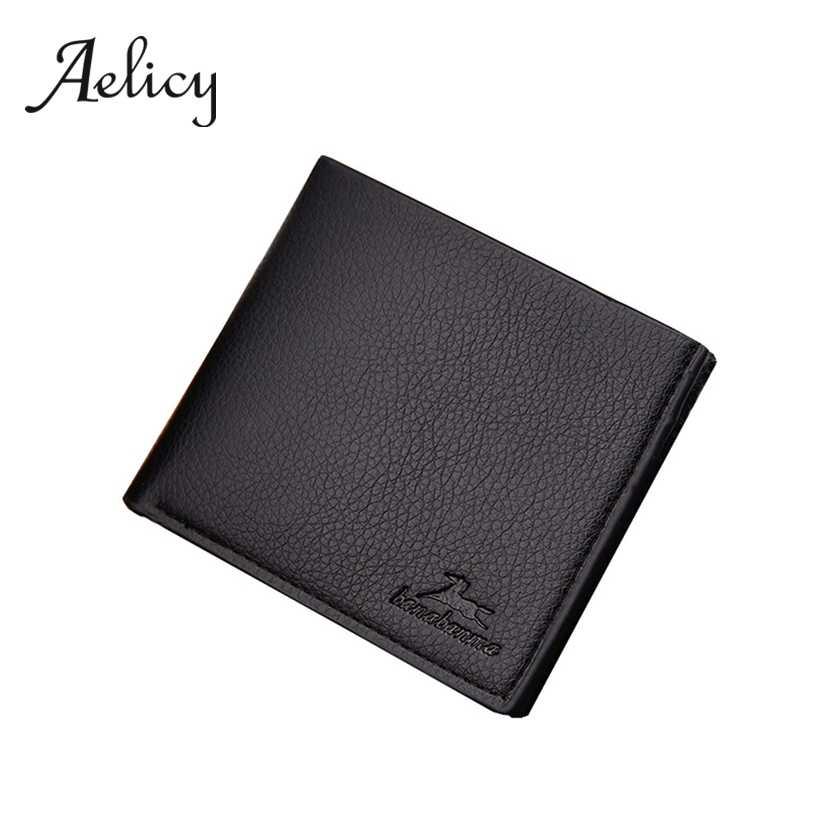 Aelicy גברים בציר עסקי Lichee דפוס עור רב כרטיס עמדת ארנק מוצק קצר Bifold אשראי כרטיס בעל Purse0