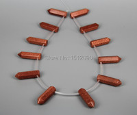 12pcs Strand Natural Red Goldstone Hexagon Beads Points Necklace Bulk Top Drilled Faceted Bullet Shape Pendants