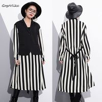 Faux Two Piece Striped Dress Long Sleeve 2018 Spring Women Oversized Vest Patchwork Midi Vestidos With