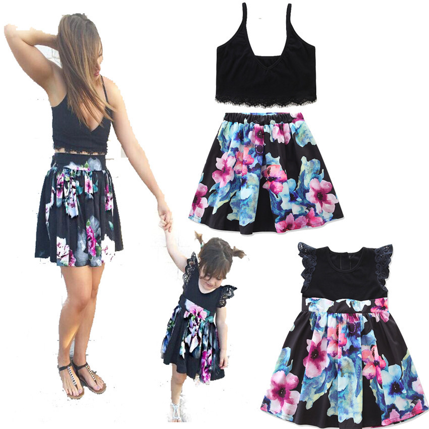mother-daughter-dresses-Family-Matching-Clothes-Suit-Denim-Shirt-skirts-2pcs-Mommy-and-me-sets-two