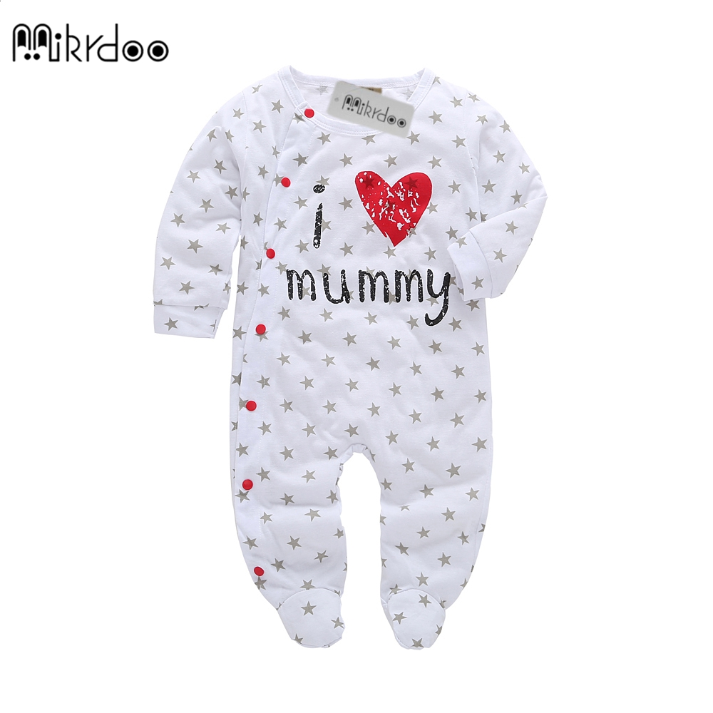 2018 new style Baby Rompers boy & girl Cotton Long Sleeve Newborn clothes Letter I Love mummy & Daddy jumpsuit Baby clothes funny newborn baby kids cotton long sleeve rompers love mummy daddy jumpsuits clothes p1