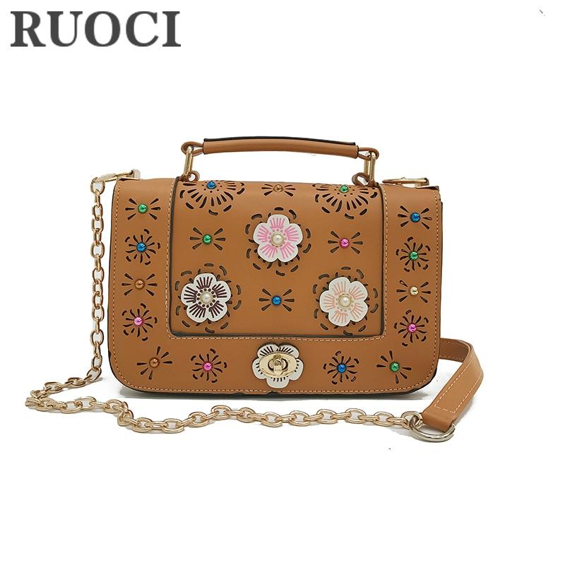 RUOCI Mode Hollow Out Floral Diamonds Kvinnor Handväskor Liten Hög - Handväskor - Foto 2