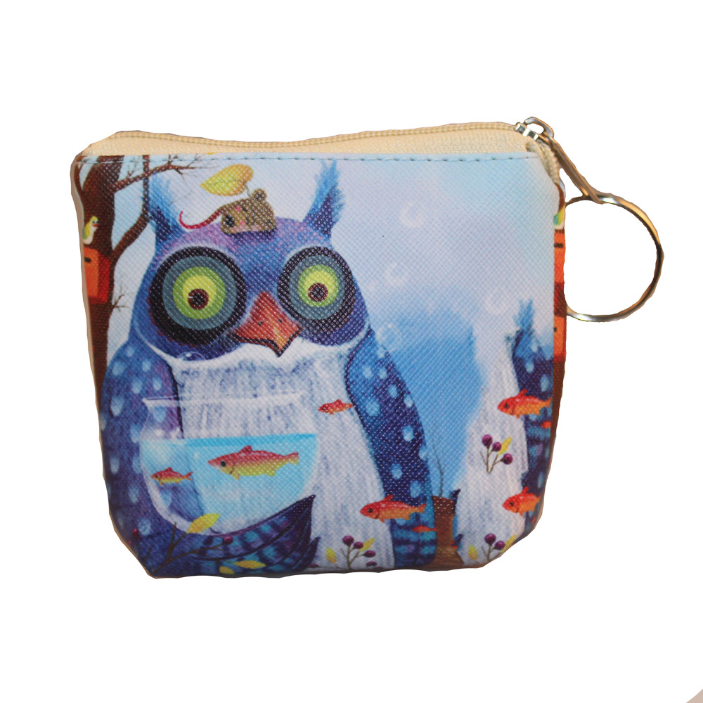 Rainbowgirl 2017 Hot Sale Kawaii Cartoon Owl Children Coin Purse Zip Change Purse Wallet Kids Girl Women For Gift