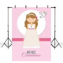 Backdrop for Photographic Studio Pink Girl My First Holy Communion Customize Background Decor Original Design Photocall LV-1797 allenjoy backgrounds for photography studio blue little boy my first holy communion customize backdrop original design photocall