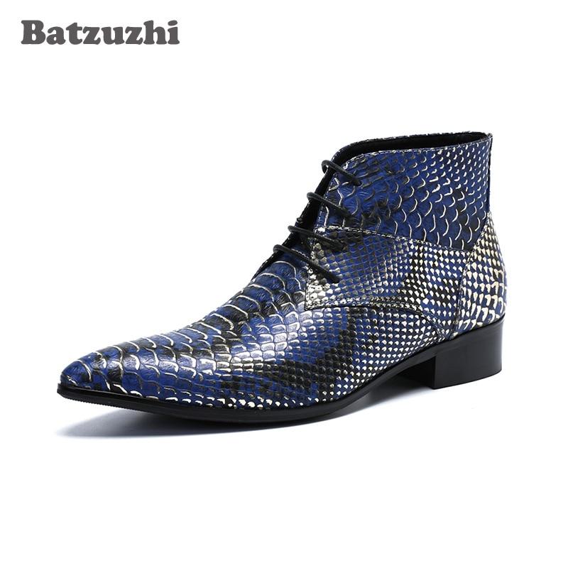 Batzuzhi Tornozelo Escama Apontou Curtas Moda De up Peixe Couro Toe Partido Homens Lace Azul Do Luxo Hombre Botas rqxAWtwr8g