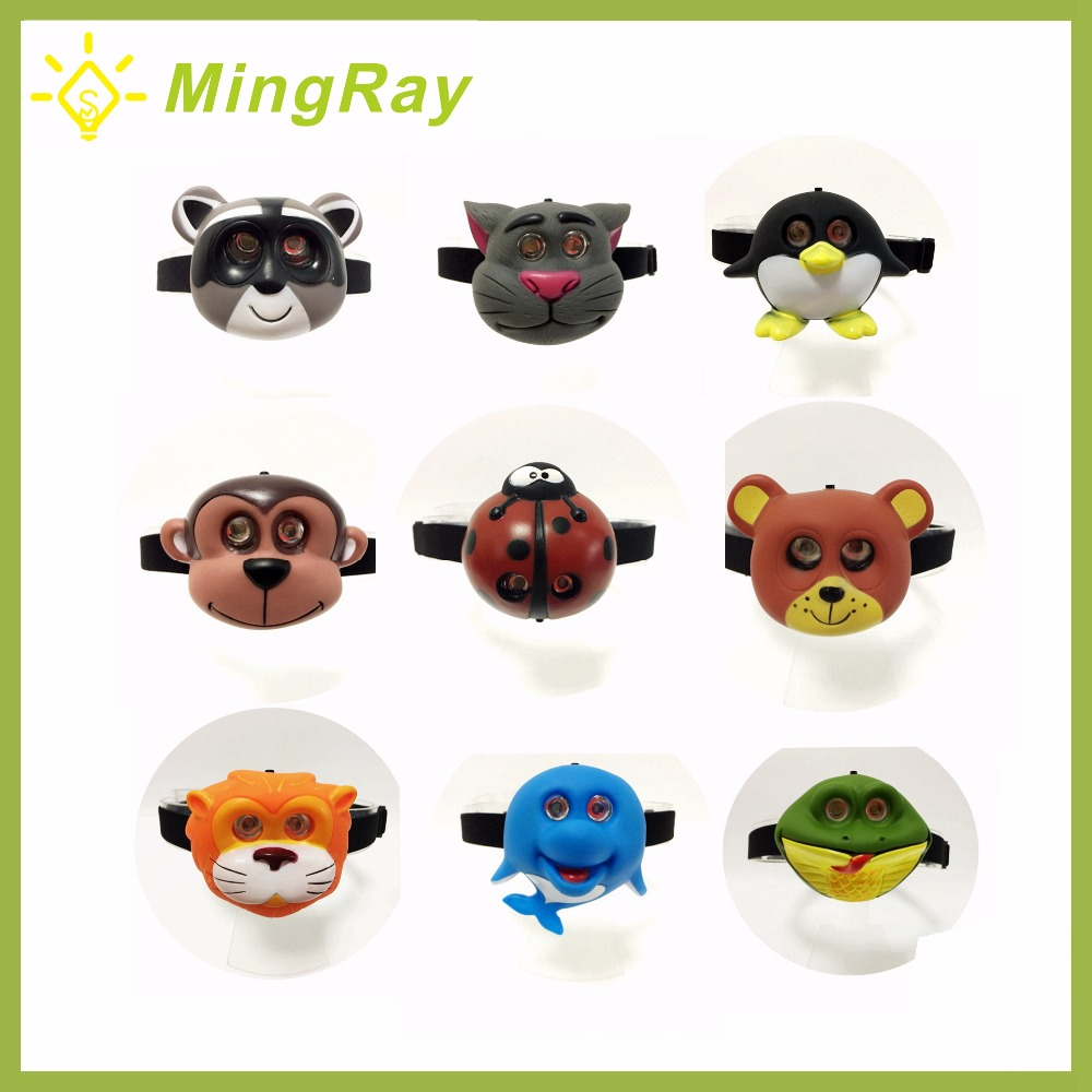 Child Outdoor LED Headlight AAA Battery Animal Shape Cute Headlamp Flashlight On Head For Boy Girl Camping Kids Creative Gift