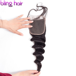 Image 4 - Bling Hair Brazilian Loose Wave Closure with Baby Hair Remy Human Hair Lace Closure 4x4 Middle/free/three Part Natural Color