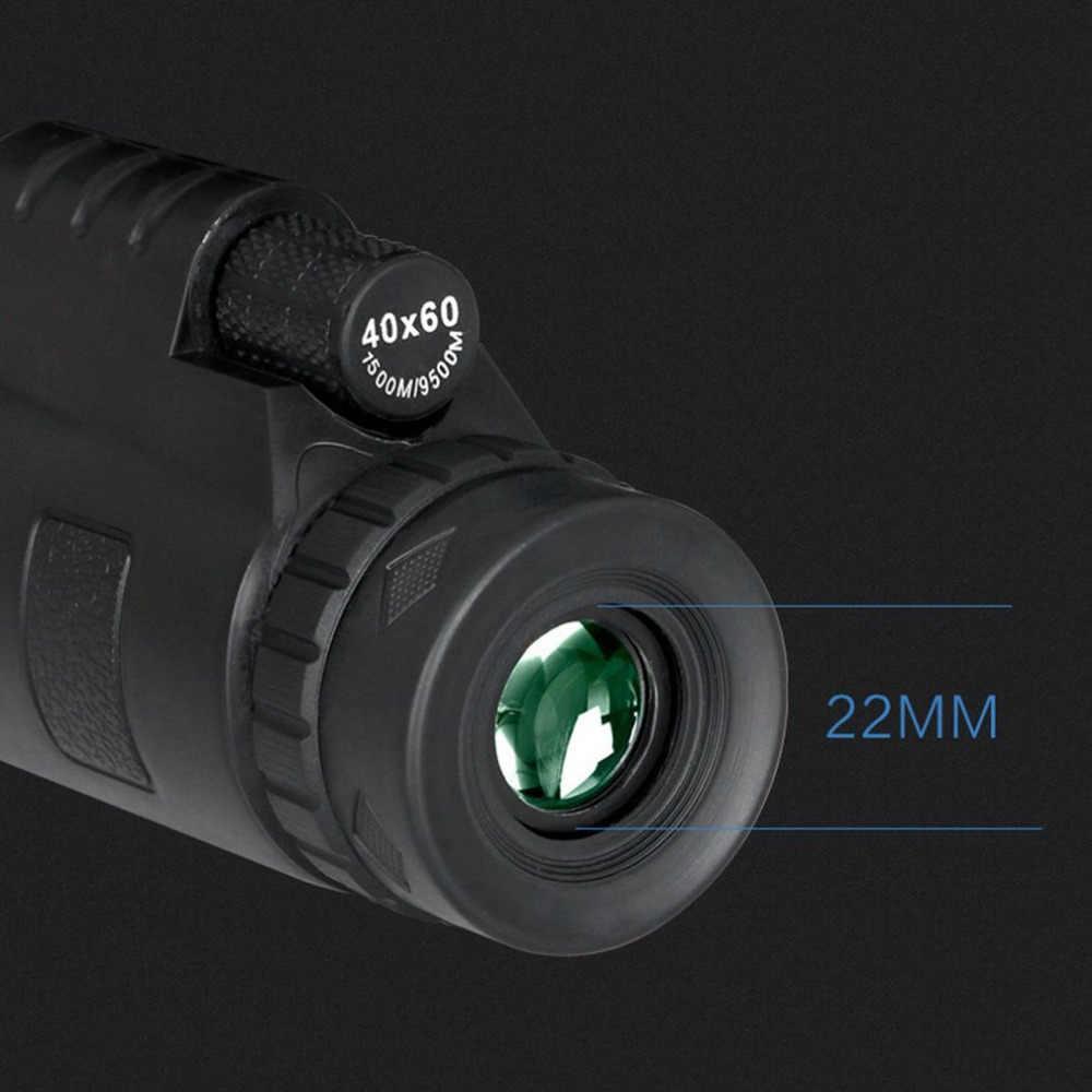 40X60 монокулярный телескоп HD ночное видение BAK4 призма зеленая пленка прицел с компасом телефон клип Штатив для наружного