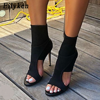 d3a6761828 Eilyken 2019 New Spring Design Stretch Fabric Women Ankle Boots Sexy Peep  Toe Cut Out High