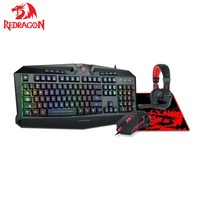 Redragon S101BA Gaming Mouse Keyboard Headset with Microphone Mouse Pad Combo Ergonomic Wrist Rest Keyboard for Windows PC Gamer