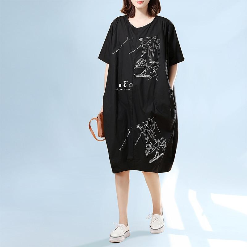 MissLymi XXL 5XL Plus Size Women Vintage Dress 2017 Summer Harajuku  irregular Letter Print Oversized Casual Loose Yellow Dress-in Dresses from  Women s ... bcdb076f03d5