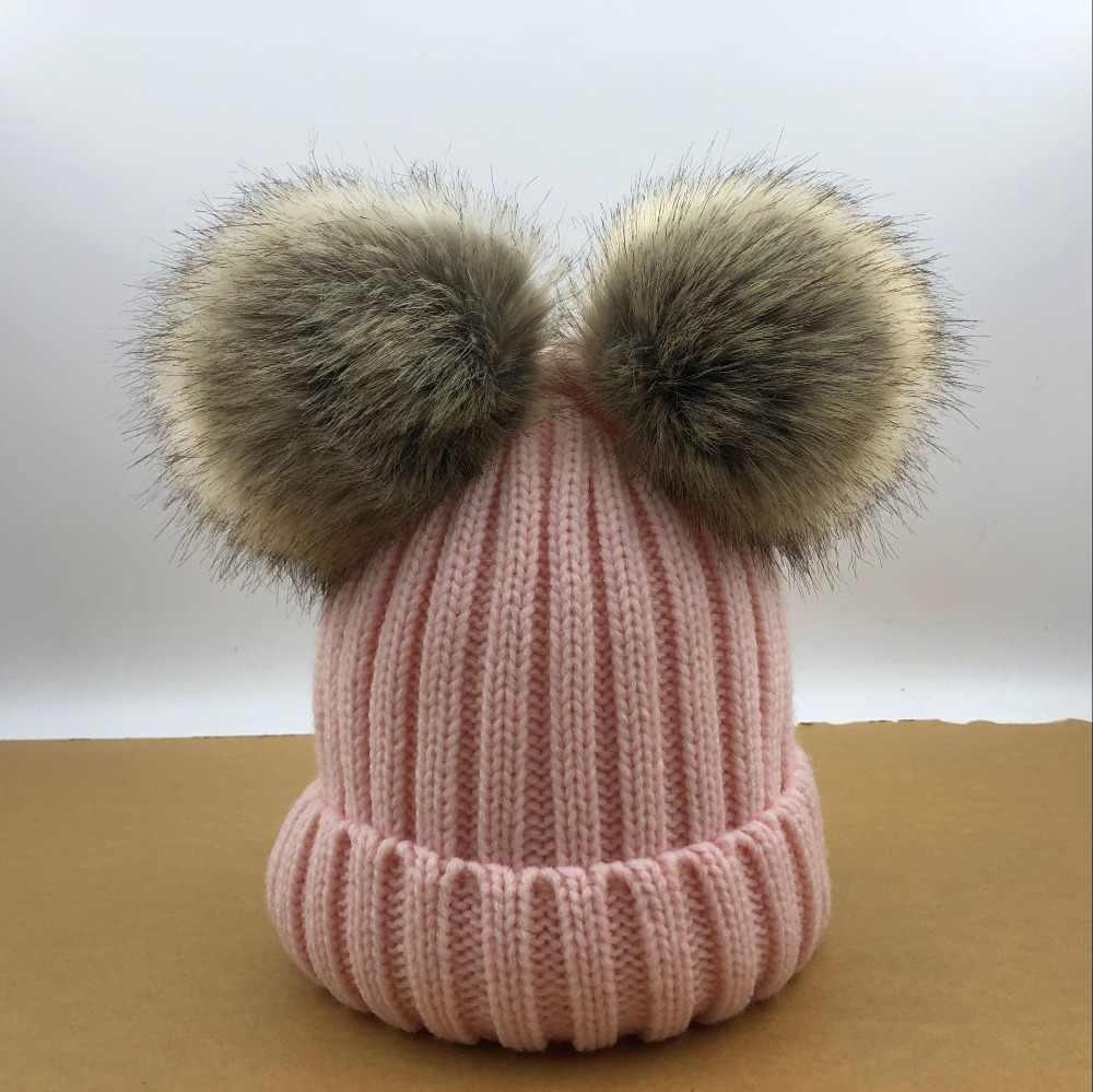 013a1e0b98f23 ... Baby Girls Boys Winter Warm Gorros Para Bebe big size 15cm faux Fur  Pompom Ball Kids ...