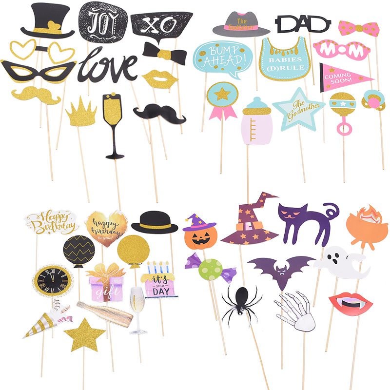 1 Set Funny Photo Booth Props Bridal Wedding Birthday Party Baby Shower Decoration Theme Party Halloween Christmas Photo Booth in Photobooth Props from Home Garden