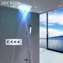 цены SKY RAIN Stainless Steel Shower Panel System LED Rainfall Waterfall Shower Head 2 Function Massage Shower Set