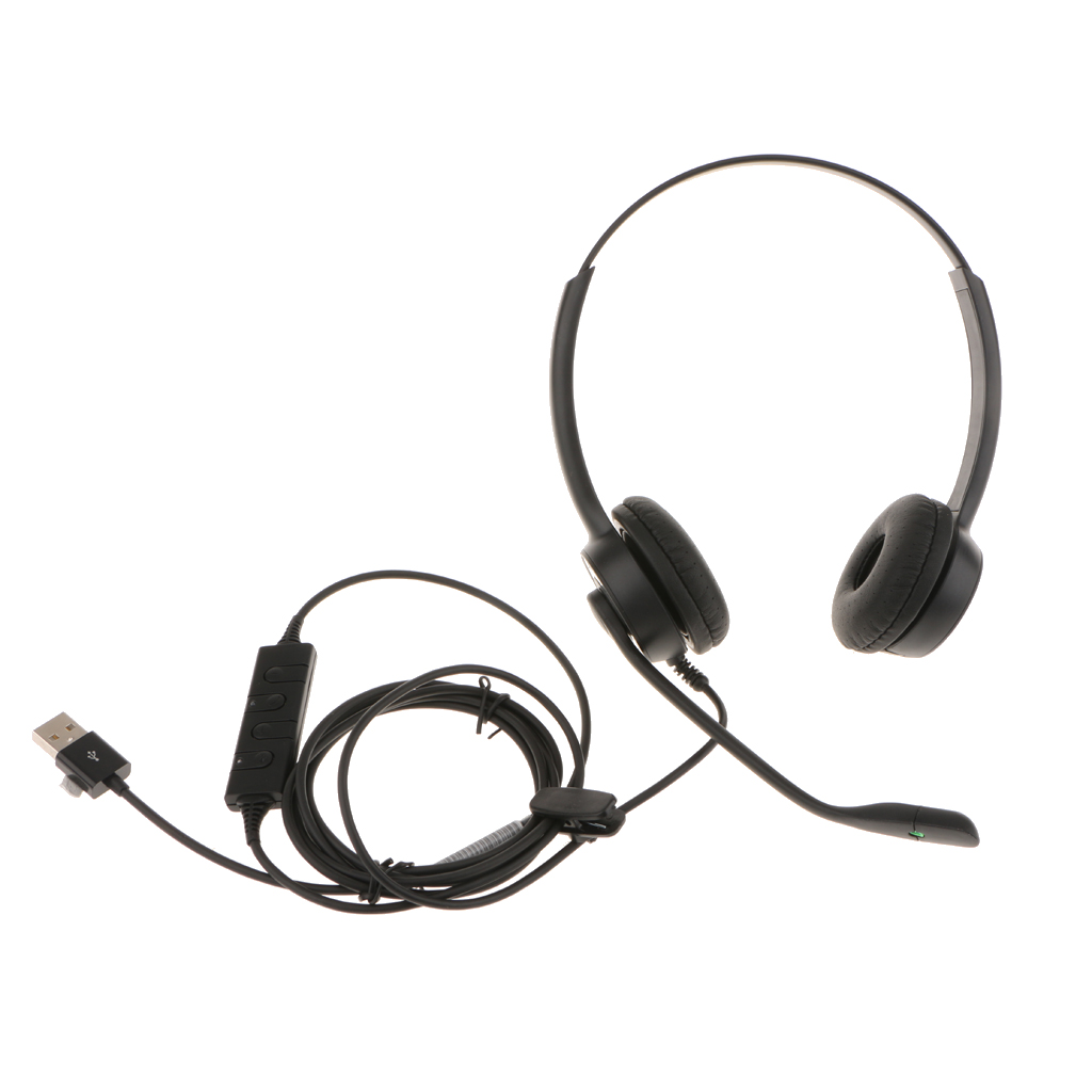 USB Binaural Corded Telephone Headset Noise Canceling Mic for Call Center