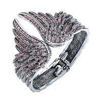 Mới Đến Cánh Thiên Thần Cuff Bracelet cho Phụ Nữ Biker Pha Lê Punk Jewelry Gift Màu Bạc Cổ Bangle Dropshipping