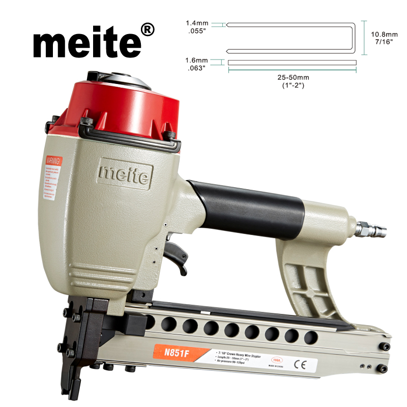 Meite N851F 7 16 crown heavy duty stapler 16GA pneumatic staple nailer gun woodworking tools for