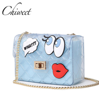 CHICHI Women Cute Jelly Bag Brands Lady Candy Transparent Messenger Beach Bags Girls Clear Graffiti Red