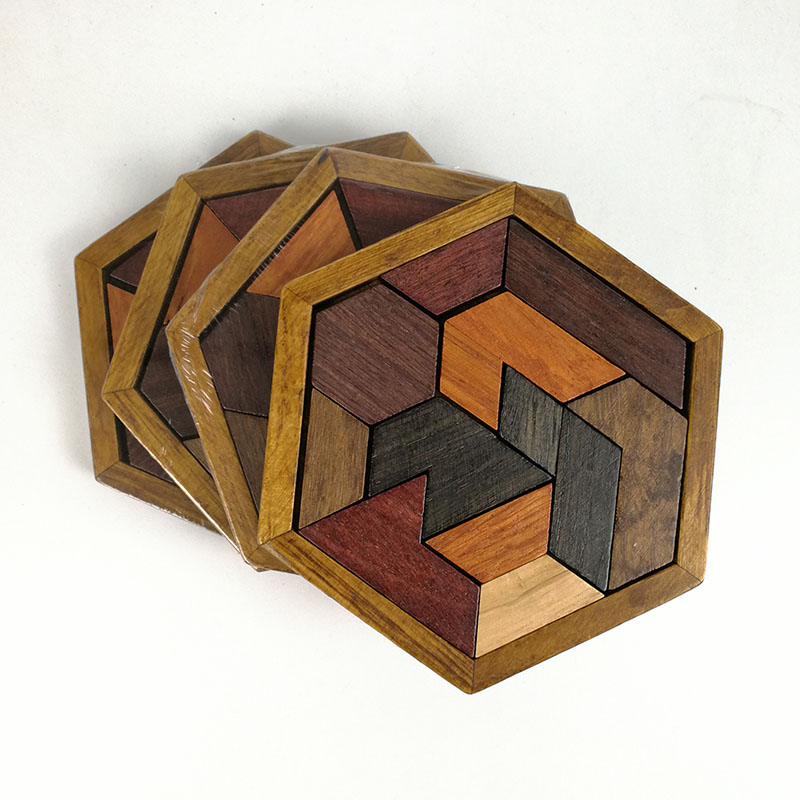 Montessori Wooden Educational Toys For Children Hexagonal Early Learning Intelligence Baby Toy Wooden Puzzles Jigsaw CL2468H wooden toys tree marble ball run track game for baby montessori blocks intelligence educational model building wood toy