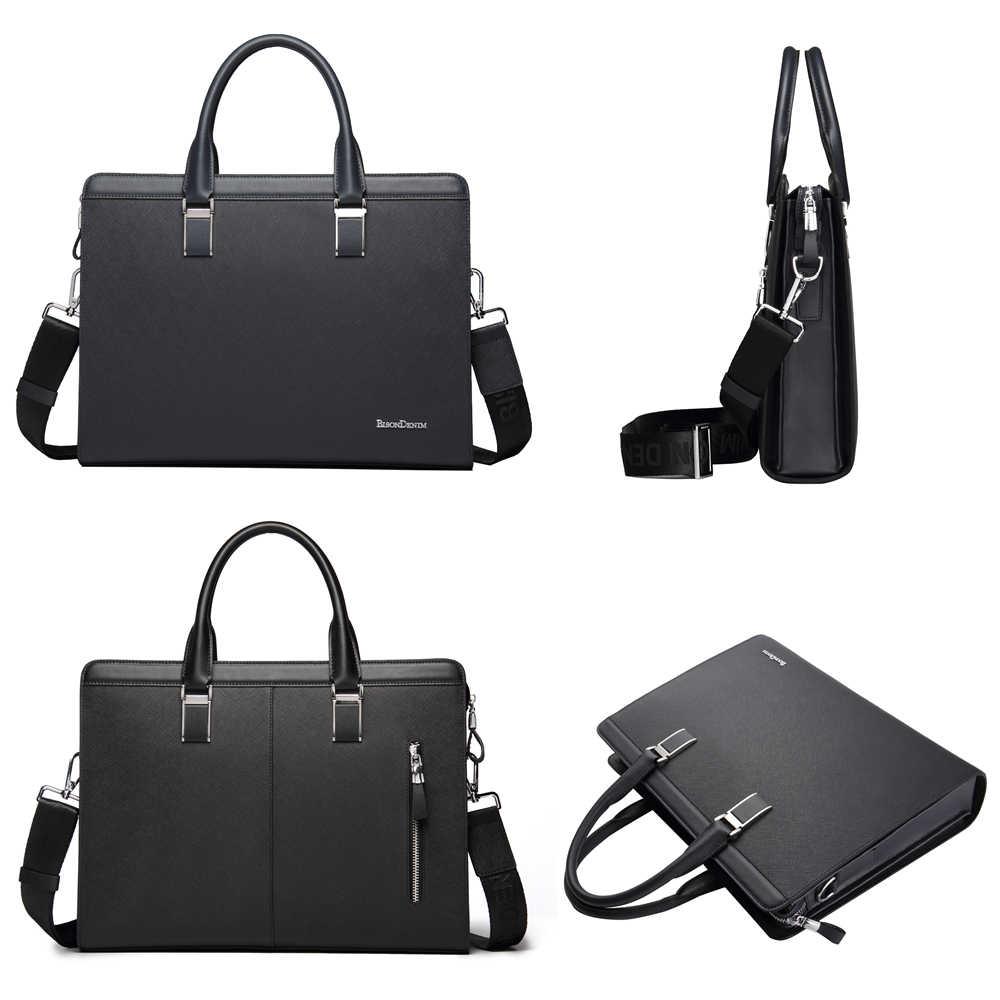 Bison denim bolsa de couro genuíno dos homens de negócios mensageiro saco 14 14 laptop portátil tablet couro bolsa de ombro crossbody sacos masculinos n2317