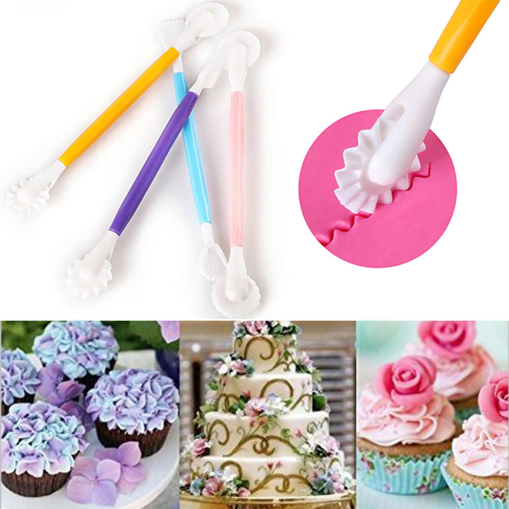 4pcs Fondant Cake Decorating Modelling Tools 8 Patterns Flower Decoration Pen Pastry Carving Cutter Baking Craft Cake Mold