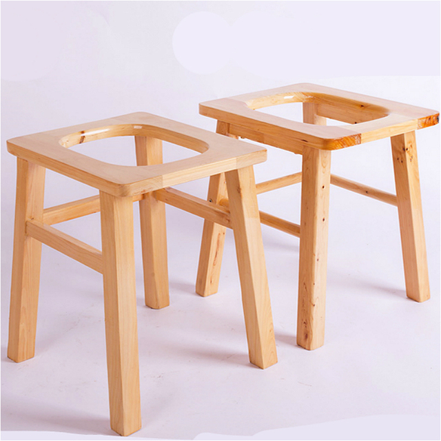 Wooden Household Potty Chair Simple Moveable Old People And Pregnant Woman Commode  Chair Strengthening Non