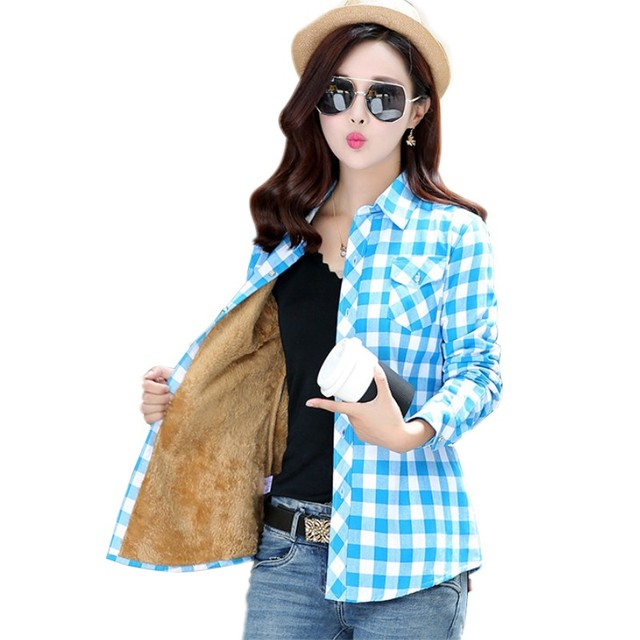 Women Tops Blusa Camisa Femininas Autumn Winter Warm Cotton Full thick Velvet Female blouses plaid flannel shirts  M-XXL  HS1592