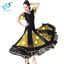 Tarian tarian tarian set wanita moden moden dancaman saman waltz prestasi pakaian flamenco tarian pakaian atas + skirt