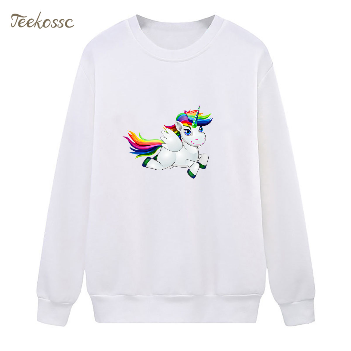 Rainbow White Horse Sweatshirt Hipster Cute Hoodie 2018 Winter Autumn Women Lady Pullover Fleece Warm Loose Casual Streetwear