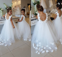 c45e19cd7d49a 2018 Flower Girls Dresses For Weddings Flowers White Pearl Backless  Princess Children Birthday Party First Communion