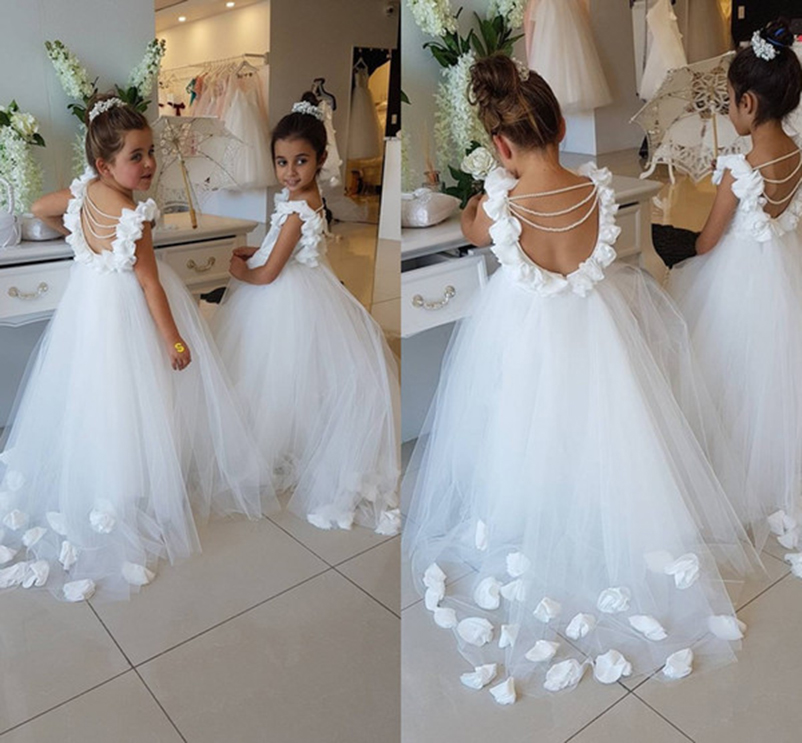 2018 Flower Girls Dresses For Weddings Flowers White Pearl Backless Princess Children Birthday Party First Communion Dresses New Bright And Translucent In Appearance