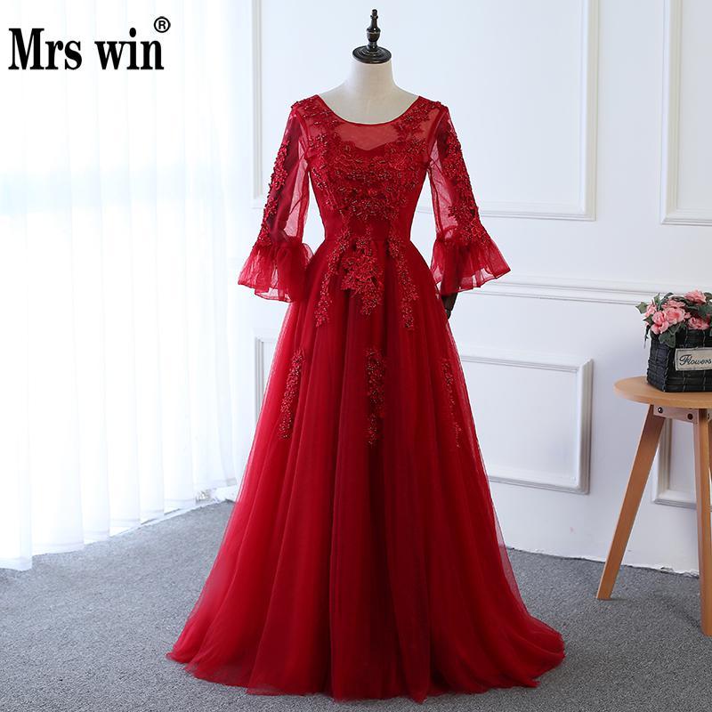 Avondjurk Winter Mrs Win Bruid Transparante Lange Mouwen Wijn rood Kant Party Gown Banket Elegante Prom Dress Vestido De Festa