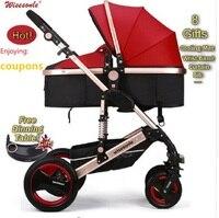 Wiselone Роскошные Детские Коляски 2 в 1 высокая пейзаж коляска Портативный складной коляски дешевле Детские коляски