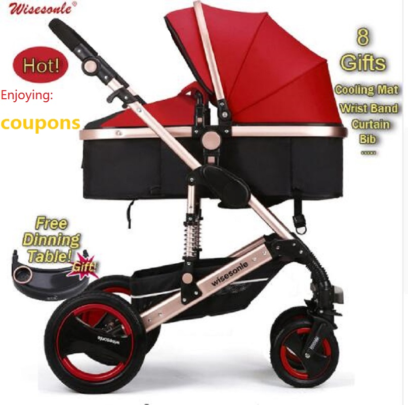 Wiselone Luxury Baby Stroller 2 in 1  High-Landscape Pram Portable Folding  baby Carriage Cheaper Baby Stroller portable baby stroller 3 in 1 high landscape aluminum luxury folding european baby carriage 2 in 1 pram for newborn four seasons