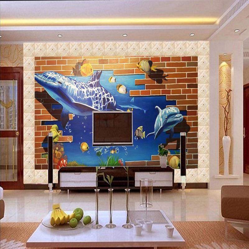 ФОТО Free Shipping 3D Stereoscopic Sea World TV Backdrop Living Room Bathroom Flooring self-adhesive non-slip bedroom flooring mural