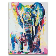 Animal world two Elephants diy paintings colorings by numbers animals on canvas draw paints colors  number for hoom decor