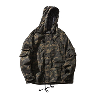 2017 New Fashion Trend Youth Style Small Fresh Tooling Washed Hooded Loose Version Korean Camouflage Bread Clothes Cotton