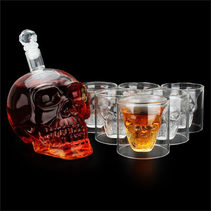 7 pcs/ensemble bar ensemble 700 ml crystal skull head vin bouteille en verre 75 ml whisky tasse en verre potable tasses et bouteilles