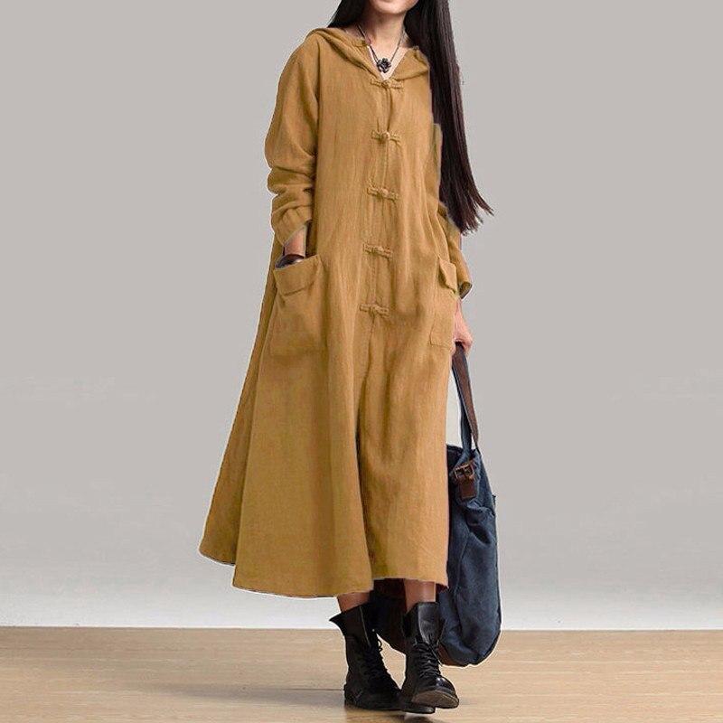 8 цветов женское платье ZANZEA 2019 осень Винтаж повседневные свободные макси длинное платье дамы v-образным вырезом с длинным рукавом с капюшоно...