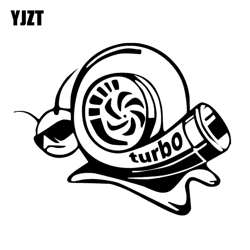 YJZT 17.8CM*14.1CM Vinyl Decal Funny Car Sticker Turbo Super Snail Black Silver C10-00965