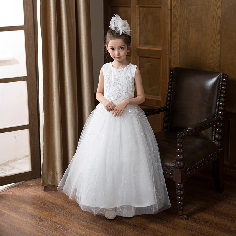 ФОТО Summer Flower Girls Dresses for Wedding Ankle-Length Lace White Party Dress for Girl Kids Ball Gowns for 10 years Girl