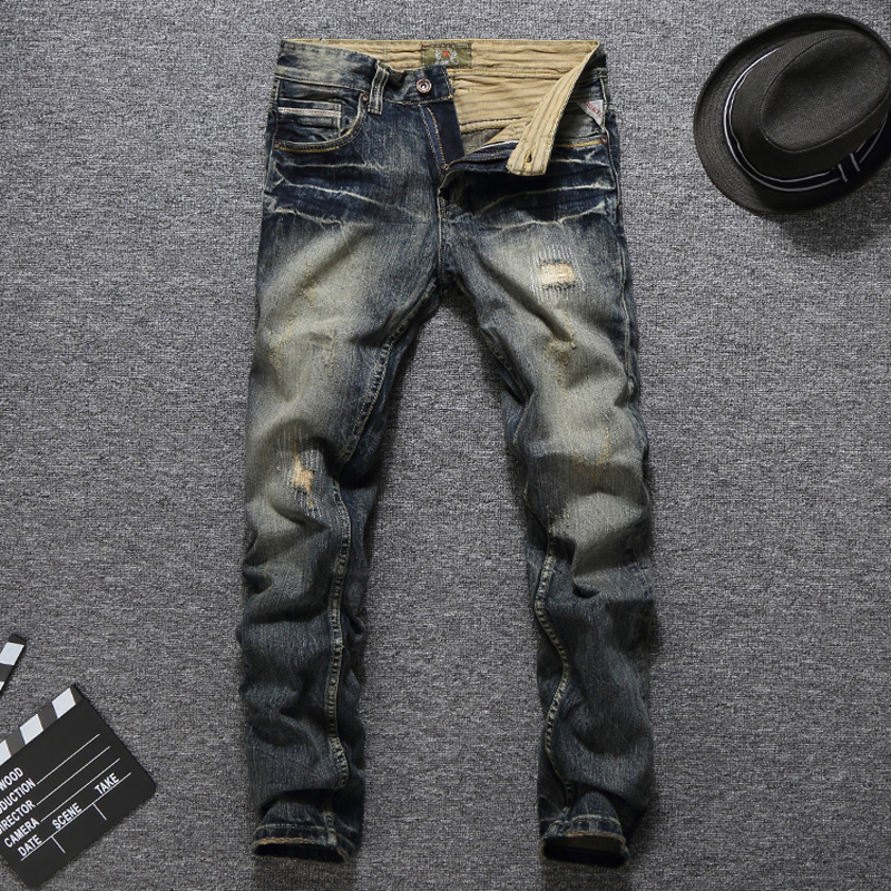 Italian Fashion Men Jeans Vintage Retro Style Slim Fit Ripped Jeans